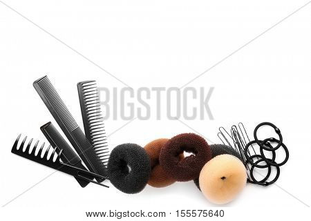 Accessories for hairstyle on white background