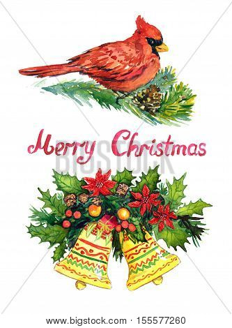 Christmas decoration with pine tree branches, berries, bells, holly, Cardinal bird and handwritten