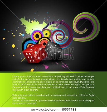 vector shiny dices on abstract background