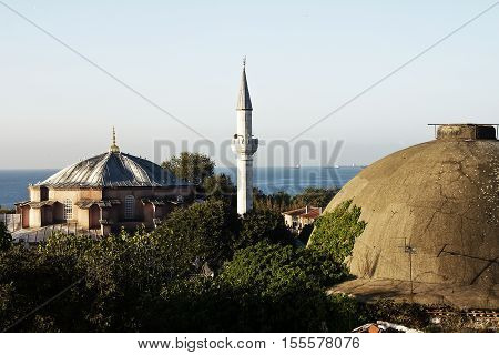 Minaret, Istanbul, Turkey and historic architecture and medieval
