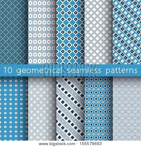 10 Geometrical Seamless Patterns, Pattern Swatches, Vector.