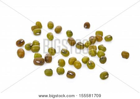 colse up mung beans isolated on white background
