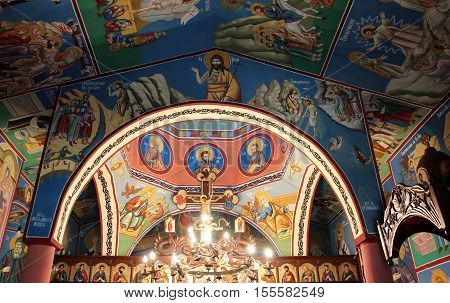 picture of a Frescoes of an Interior of the Orthodox Church St. John The baptist in Strbovo Macedonia. Picture taken oct.30.2016