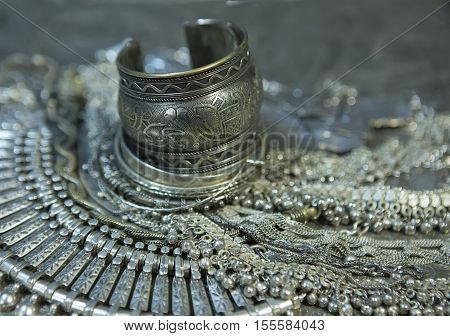 Silver jewelry. Lot of Beautiful Oriental Silver Gold (Indian Arab African). Fashion Ethno Accessories Asian Bridal jewelry. Tribal Moroccan belly Dance Jewelry. Necklace Earrings Bracelets