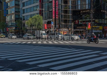 GINZA, JAPAN - MAY 2 , 2016 :  Ginza  zone shopping Walking Street area of Tokyo. Area luxurious shopping. , Tokyo, Japan. October 12 2016.