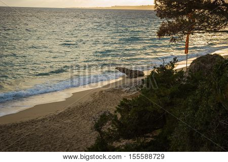 Picturesque Beach Makris Yalos On The Island Of Kefalonia,  Greece