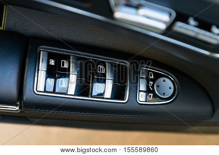 MYTISHCHI DISTRICT IN MOSCOW OBLAST RUSSIA - 12 JUNE 2015: Interior (Designo) of used Mercedes-Benz S-Class S350 long (W221) car stand on a street