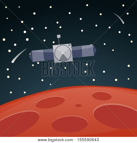 Vector illustration of Mars surface and scientific research satellite. Mars research and exploration mission.