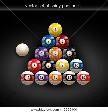 glossy set of pool balls. Vector illustration