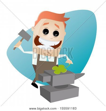 funny businessman with anvil and four-leaf clover