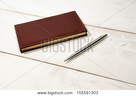 Business clerk accessory suppyl note book with pen on table