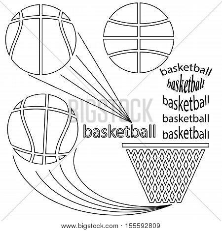 Set of Sport Basketball Icons on White Background. Line Art Design.