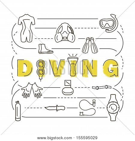 Set icons scuba diving equipment banner, in a modern thin style lines. Diving icons Isolated element for website, advertisements, online store or shop. Vector illustration. eps10