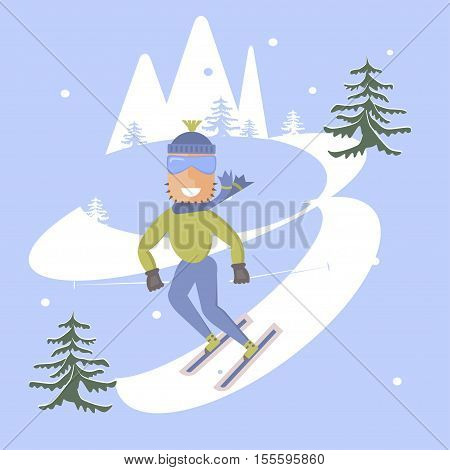 Comic concept flat design. People skiing. Skis isolated, skier and snow, season in mountain, cold downhill, recreation lifestyle, activity speed winter sports extreme illustration