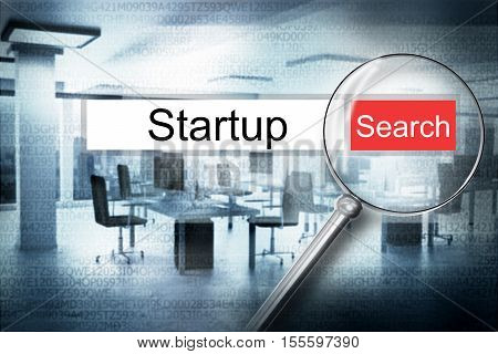 reading the word startup browser search 3D Illustration