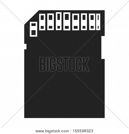 SD card icon in black style isolated on white background. Personal computer symbol vector illustration.