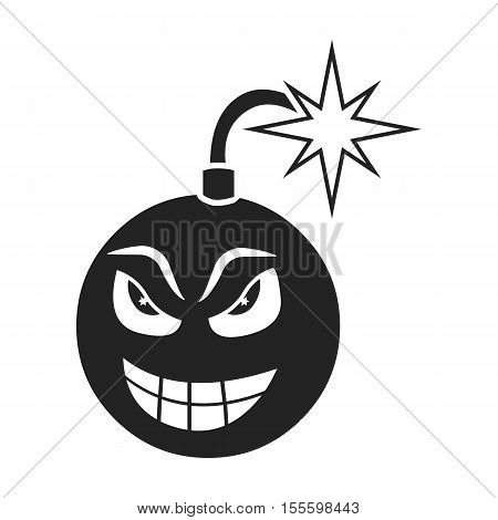 Bomb virus icon in black style isolated on white background. Personal computer symbol vector illustration.