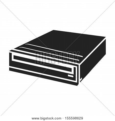 CD-ROM icon in black style isolated on white background. Personal computer symbol vector illustration.