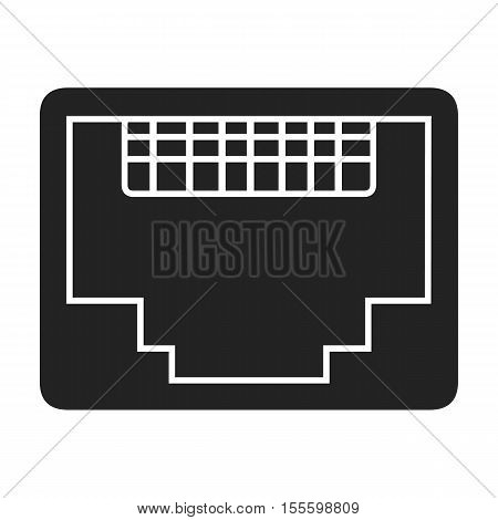 LAN port icon in black style isolated on white background. Personal computer symbol vector illustration.