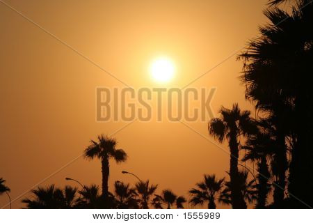 Sunset Over A Cypriot Town