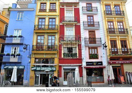 VALENCIA SPAIN - JANUARY 2: Facades of colorful houses of Valencia city on January 2 2013. Valencia is the third largest city of Spain.