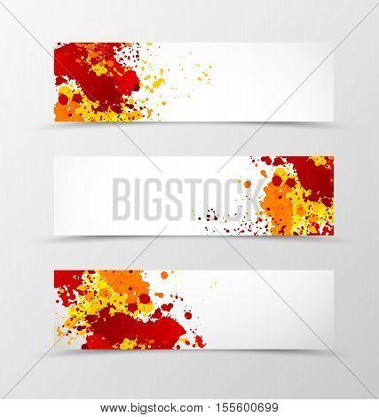 Set of header banner digital design with orange and red paint splats in grunge style. Vector illustration