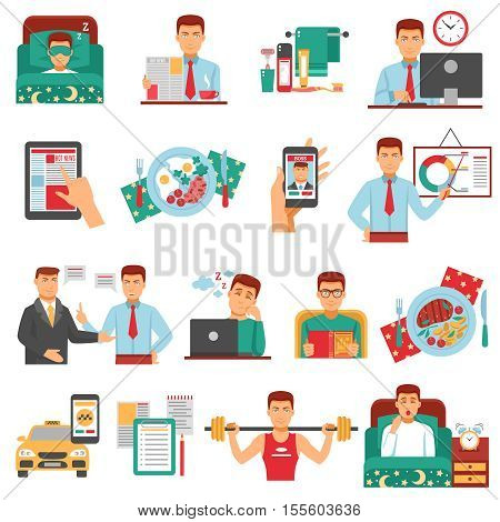 Man daily routine icon set with a busy man during the day dream sports food work for example vector illustration