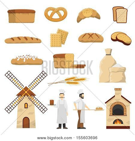Flat bakery set with two bakers bread and other baked products isolated on white background vector illustration