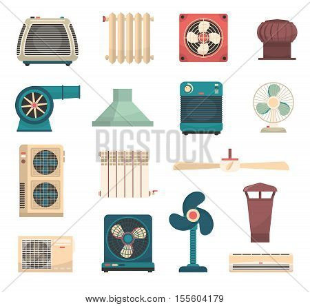 Colorful flat set of ventilation conditioning and heating system equipment isolated vector illustration