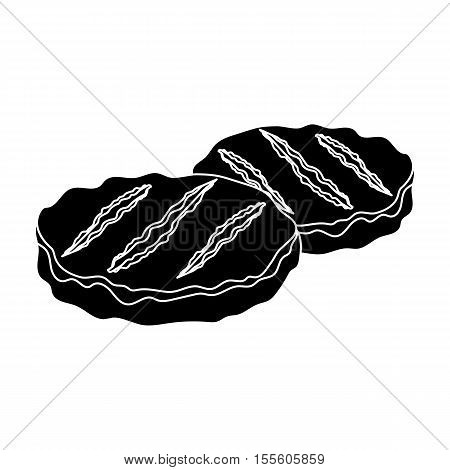 Grilled patties icon in black style isolated on white background. Meats symbol vector illustration