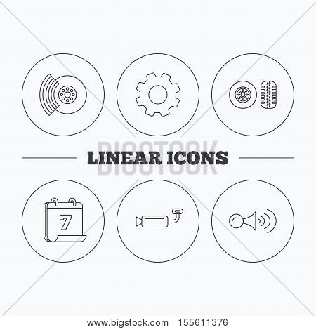 Tire tread, brakes and steering wheel icons. Muffler, klaxon signal linear signs. Flat cogwheel and calendar symbols. Linear icons in circle buttons. Vector