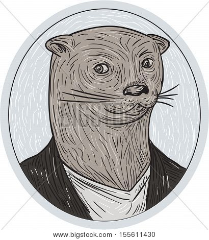 Drawing sketch style illustration of an otter head wearing shirt and blazer facing front set inside oval shape.