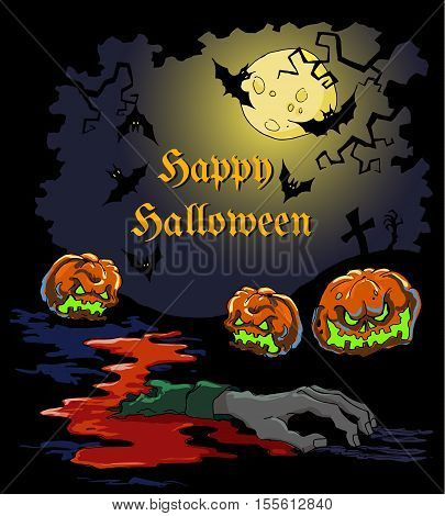 Vector card for Halloween party with pumpkins blood dead severed hand and cross gravestone. Can be used as a background trick or treat stickers party invitation elements. Halloween menu design.