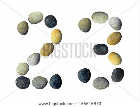 Digits 2 3 made of pebbles on a white background.