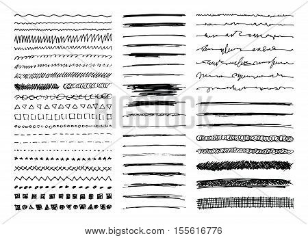 Set of hand drawn line borders sketch strokes scribbles and design elements isolated on white. Doodle style brushes. Monochrome vector eps8 illustration.