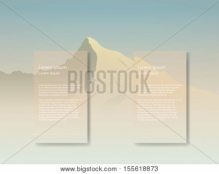Mountain landscape vector background with tall peak in morning sunrise haze. Two overlay text spaces for presentation or infographics. Eps10 vector illustration