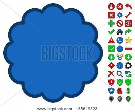 Stamp Shape interface toolbar pictogram with bright toolbar icon collection. Vector pictograph style is flat symbols with contour edges.