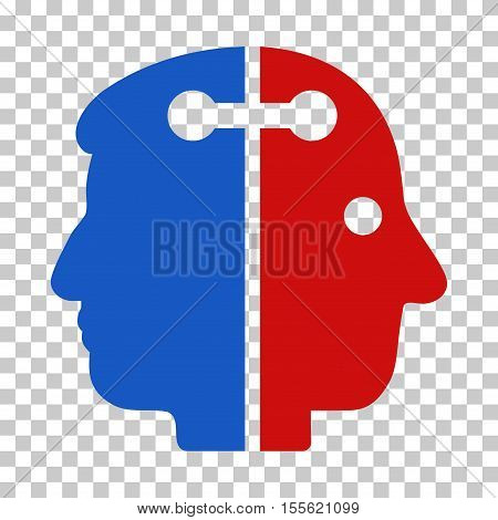 Blue And Red Dual Head Connection toolbar pictogram. Vector pictograph style is a flat bicolor symbol on chess transparent background.