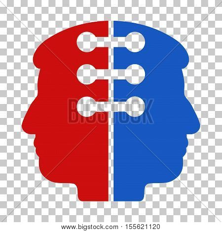 Blue And Red Dual Head Interface toolbar icon. Vector pictogram style is a flat bicolor symbol on chess transparent background.