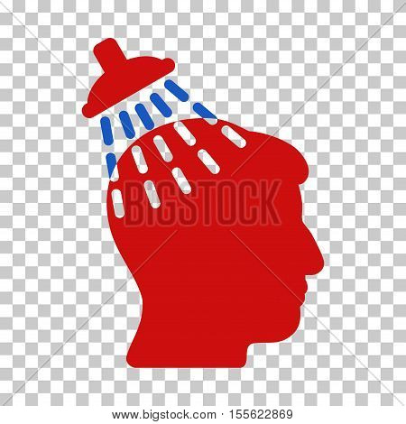 Blue And Red Head Shower interface toolbar pictogram. Vector pictogram style is a flat bicolor symbol on chess transparent background.