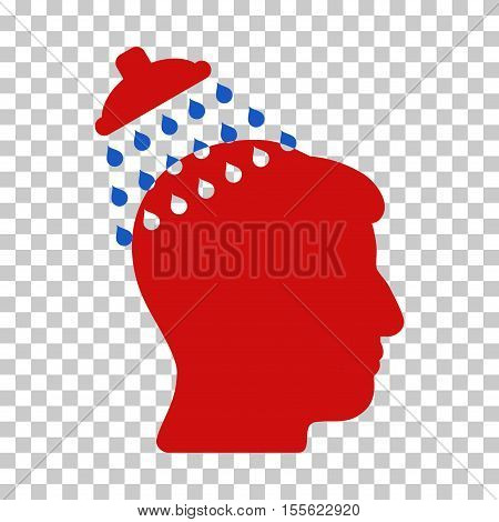 Blue And Red Head Shower interface icon. Vector pictograph style is a flat bicolor symbol on chess transparent background.