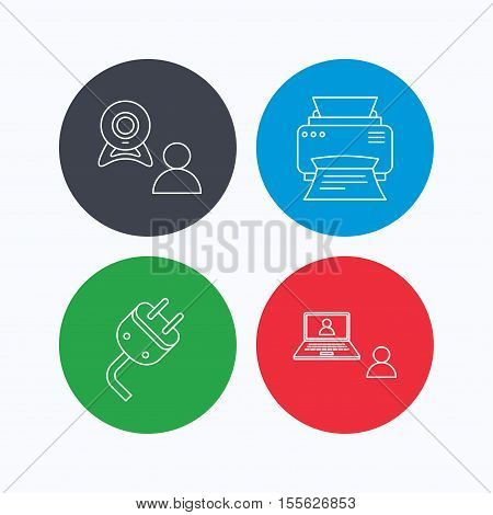Video chat, printer and electric plug icons. Video conference linear sign. Linear icons on colored buttons. Flat web symbols. Vector