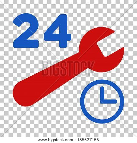 Blue And Red Service Hours toolbar pictogram. Vector pictogram style is a flat bicolor symbol on chess transparent background.