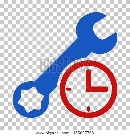 Blue And Red Service Time interface toolbar icon. Vector pictograph style is a flat bicolor symbol on chess transparent background.