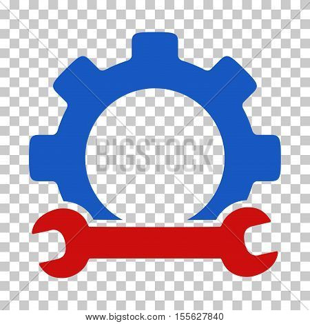 Blue And Red Service Tools interface toolbar icon. Vector pictogram style is a flat bicolor symbol on chess transparent background.