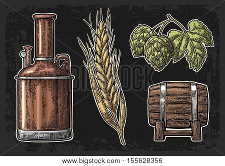Row of tanks hop branch with leaf ear of barley and wooden barrel. For poster production process brewery beer. Isolated on dark background. Vintage color vector engraving illustration