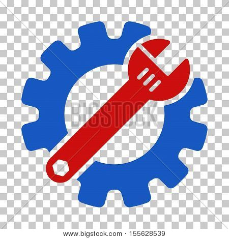 Blue And Red Service Tools interface toolbar pictogram. Vector pictograph style is a flat bicolor symbol on chess transparent background.