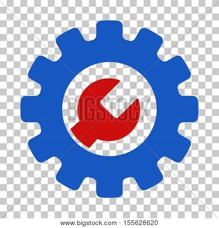 Blue And Red Service Tools interface toolbar pictogram. Vector pictogram style is a flat bicolor symbol on chess transparent background.
