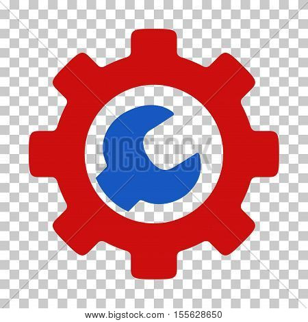 Blue And Red Service Tools toolbar pictogram. Vector pictograph style is a flat bicolor symbol on chess transparent background.