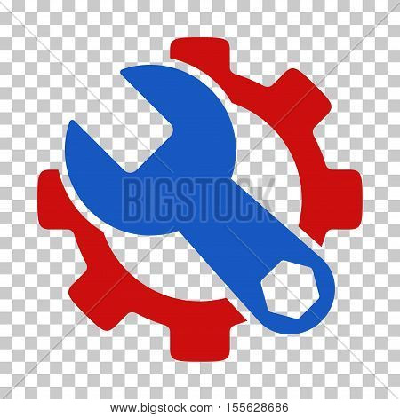 Blue And Red Service Tools toolbar pictogram. Vector pictogram style is a flat bicolor symbol on chess transparent background.